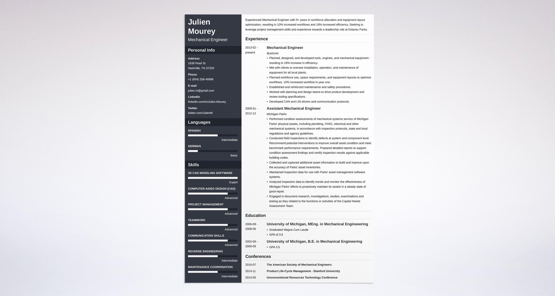 Entry Level Mechanical Engineering Resume Unique Mechanical Engineering Resume Guide with Sample [ 20