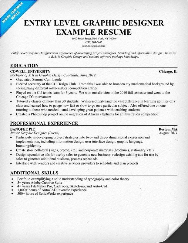 Entry Level Web Developer Resume Examples Elegant Entry Level Graphic Designer Resume Student