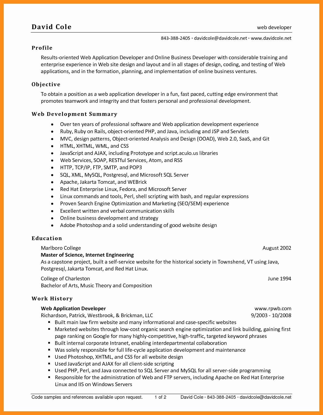 Entry Level Web Developer Resume Examples Unique 9 10 Entry Level Net Developer Resume