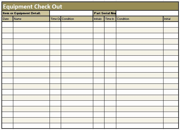 Equipment Checkout form Template Elegant Check Out Sheet Template Invitation Template