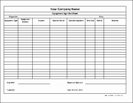 Equipment Checkout form Template Lovely Best S Of tool Sign Out Template Equipment Sign Out