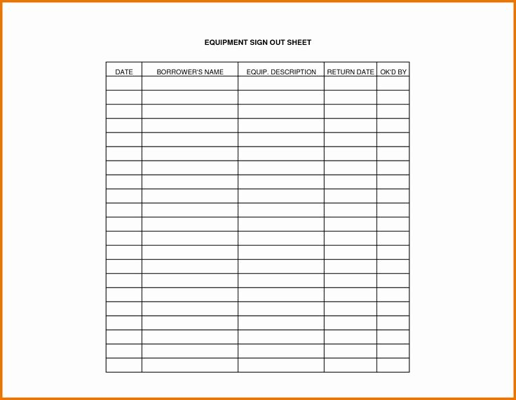 Equipment Checkout form Template Unique Equipment Sign Out Sheet Template