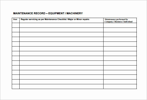 Equipment Maintenance Log Template Excel Awesome Equipment Maintenance Schedule Template Excel
