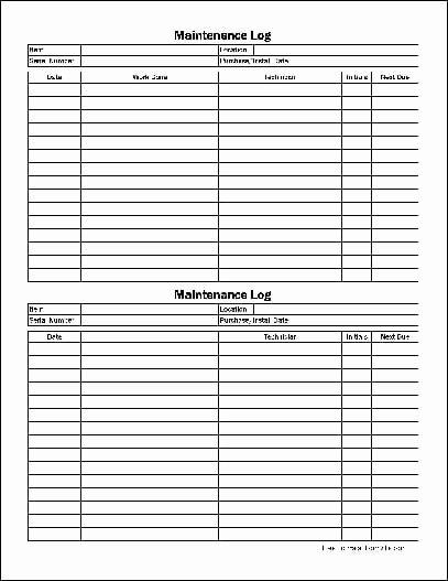 Equipment Maintenance Log Template Excel Beautiful 5 Equipment Maintenance Log Templates