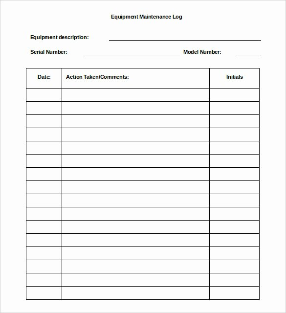 Equipment Maintenance Log Template Excel Best Of 16 Log Templates Free Word Excel Pdf