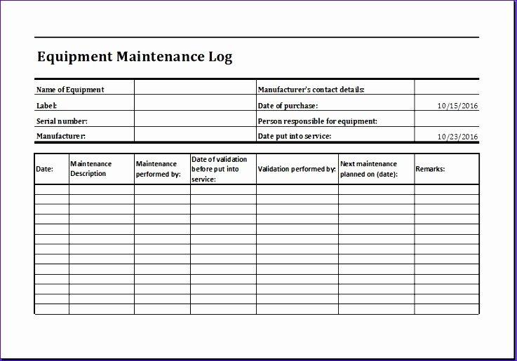 Equipment Maintenance Log Template Excel Elegant 11 Equipment Maintenance Log Exceltemplates Exceltemplates