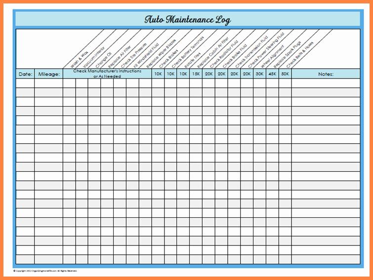 Equipment Maintenance Log Template Excel Elegant Basic Car Maintenance Schedule
