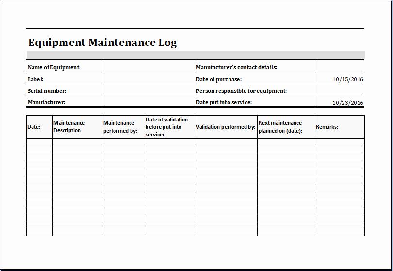 Equipment Maintenance Log Template Excel Lovely Equipment Maintenance Log Template Ms Excel
