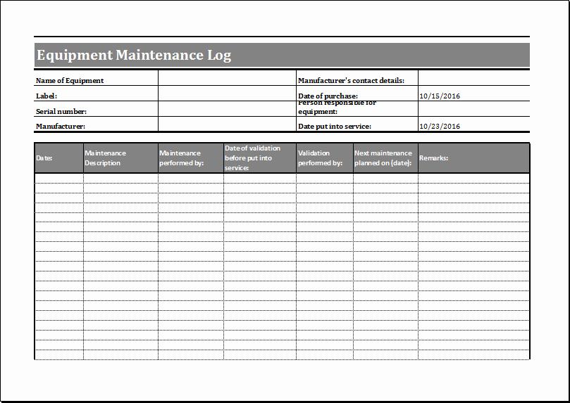 Equipment Maintenance Log Template Excel Lovely Equipment Maintenance Schedule Template Excel