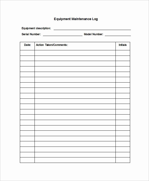 Equipment Maintenance Log Template Excel Lovely Maintenance Log Template 11 Free Word Excel Pdf