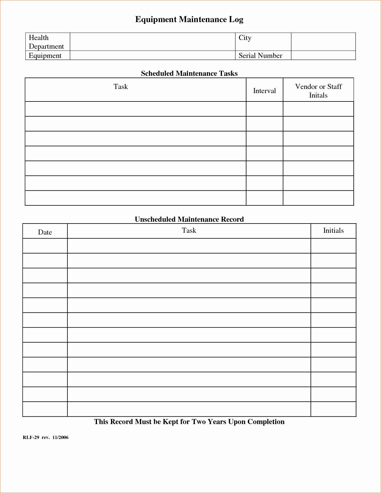 Equipment Maintenance Log Template Excel Luxury Equipment Maintenance Tracking Spreadsheet Spreadsheet