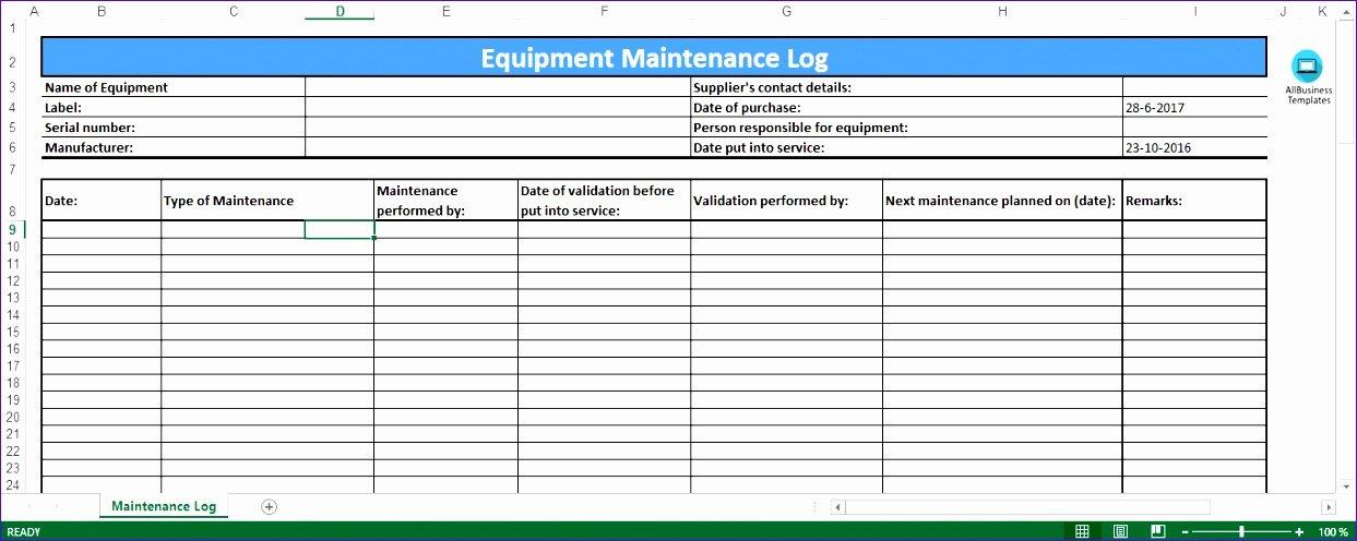 Equipment Maintenance Log Template Excel Unique 6 Preventive Maintenance Template Excel Exceltemplates