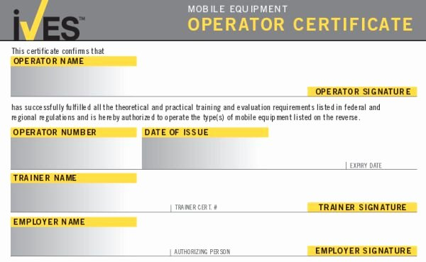 Equipment Operator Certification Card Template Beautiful forklift License Template Wallet Size Nextinvitation