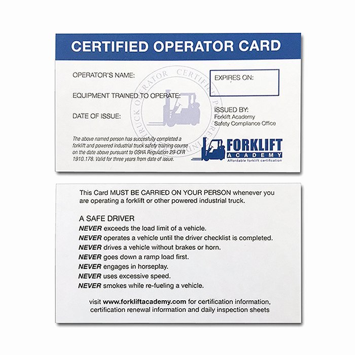 Equipment Operator Certification Card Template Beautiful forklift Training Cards