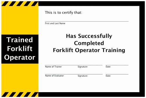 Equipment Operator Certification Card Template Lovely Operation and Maintenance Of Your forklift