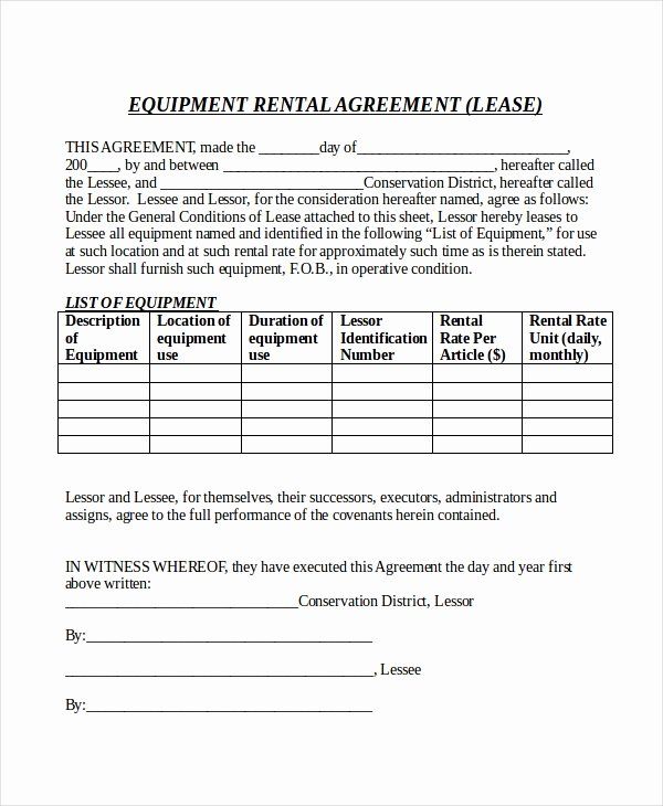 Equipment Release form Awesome 20 Rental Agreement form Templates & Samples Doc Pdf