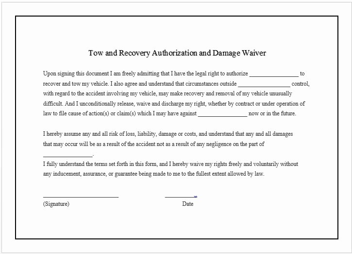 Equipment Release form Awesome towing Pany Business Damage Waiver