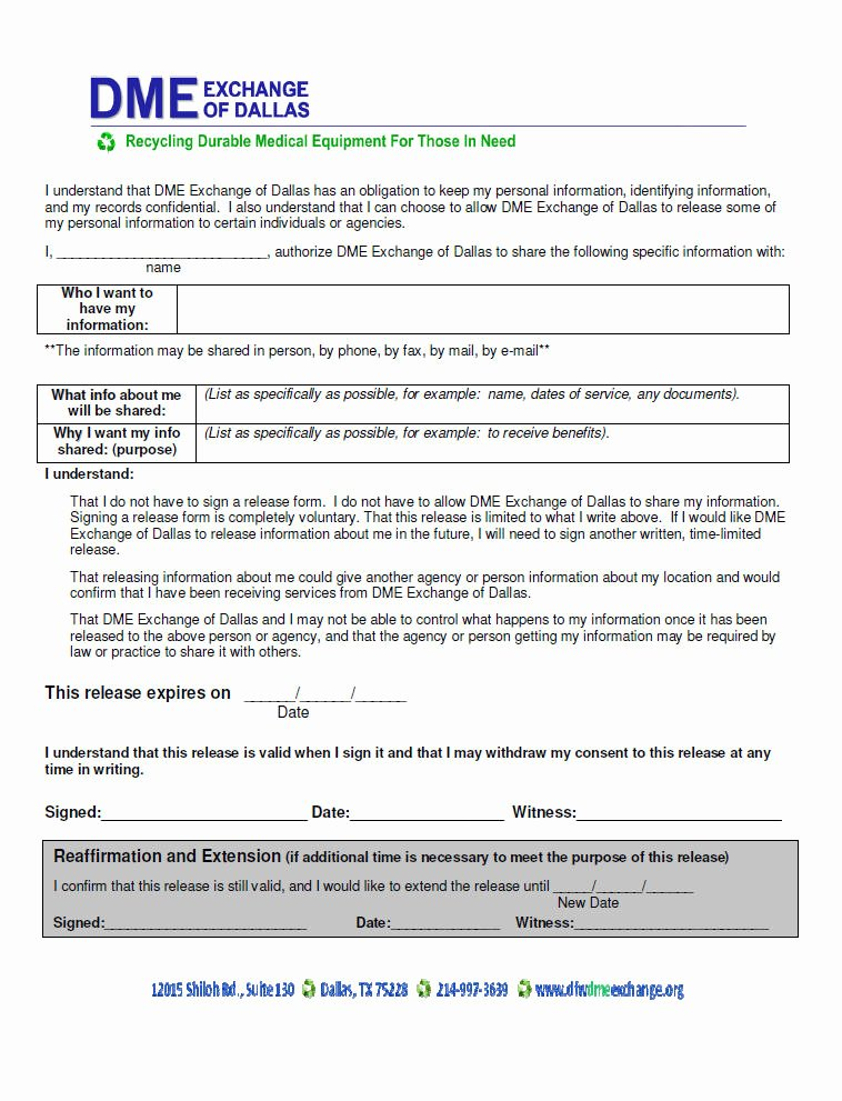 Equipment Release form Beautiful Patient Application forms