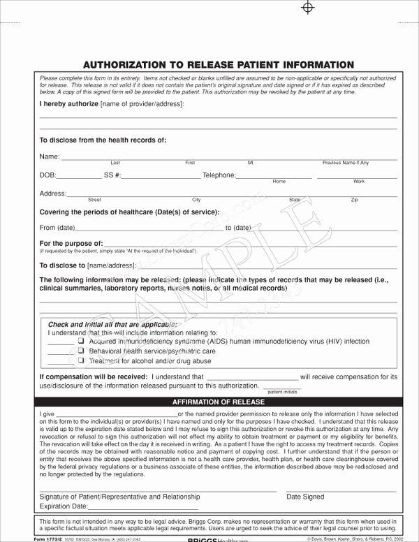 Equipment Release form Best Of Authorization to Release Patient Information form
