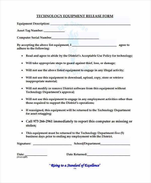 Equipment Release form Lovely 10 Equipment Release form Samples Free Sample Example