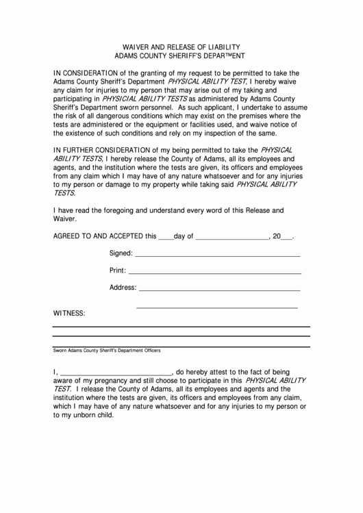 Equipment Release form Lovely Waiver and Release Liability form Adams County
