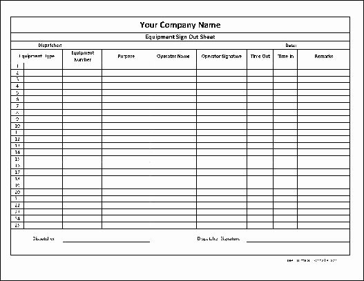 Equipment Sign Out Sheet Template Awesome 10 Best S Of Puter Equipment Sign Out form