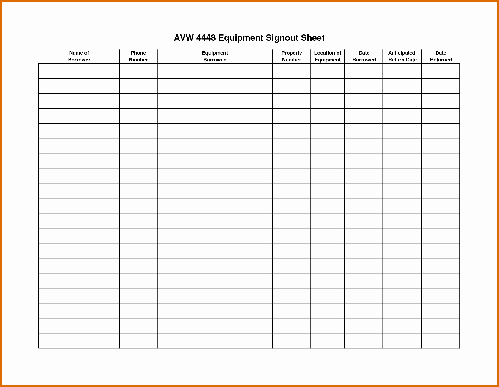 Equipment Sign Out Sheet Template Awesome 9 10 Sign Out Sheet Template
