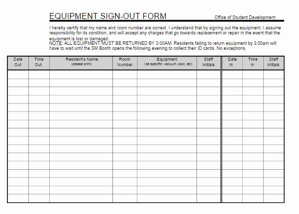 Equipment Sign Out Sheet Template Beautiful Equipment Sign Out Sheet