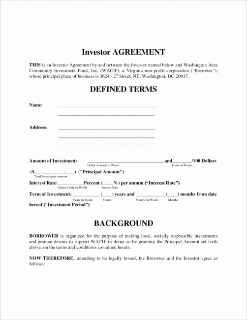 Equity Letter Template Best Of Equity Investment Agreement Fresh Letter Template Investor