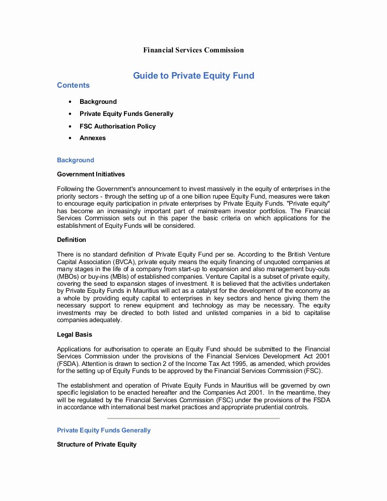 Equity Letter Template Best Of Guide to Private Equity Fundc