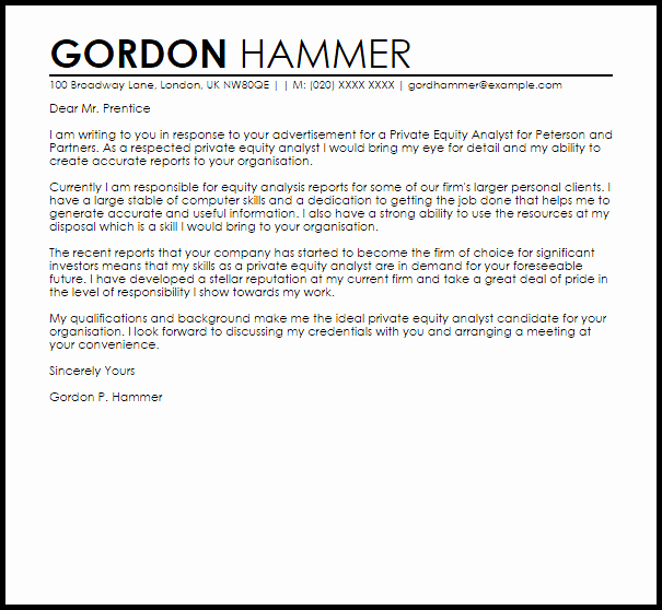 Equity Letter Template Inspirational Private Equity Analyst Cover Letter Sample