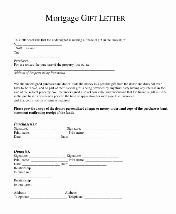 Equity Letter Template Lovely Gift Letter for Mortgage
