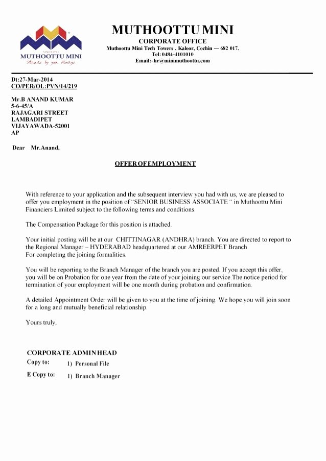 Equity Letter Template New Employment Equity Appointment Letter Template Fer