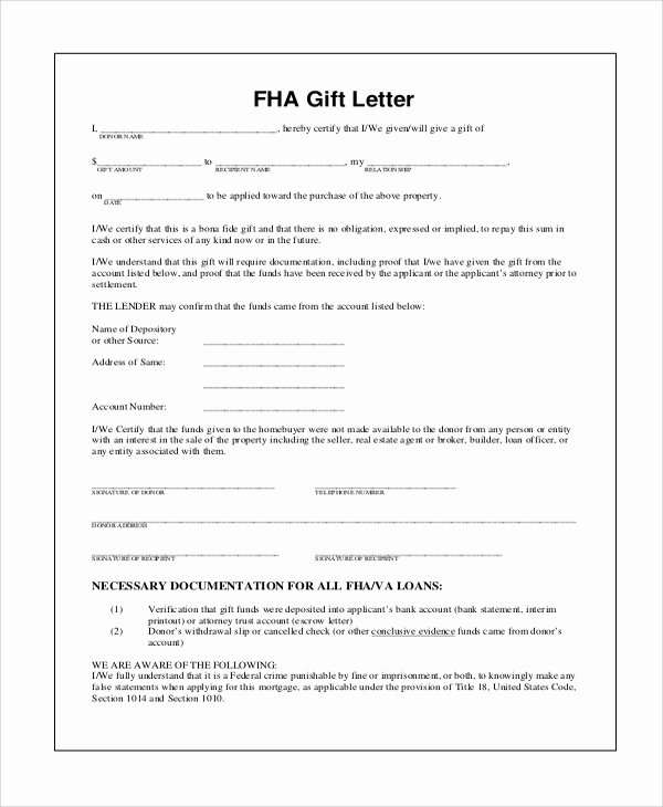 Equity Letter Template Unique Fha Down Payment Gift Equity