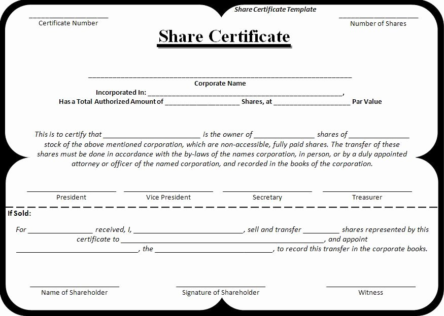 Equity Share Agreement Template Elegant Certificate Templates
