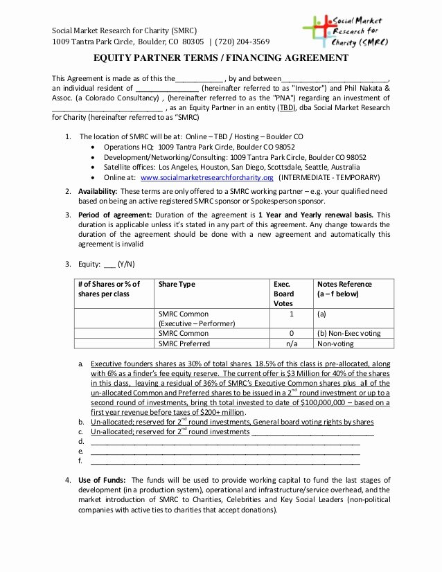 Equity Share Agreement Template Fresh Smrc Equity Partner Terms Financing Agreement