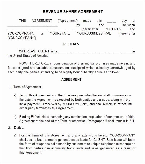Equity Share Agreement Template Inspirational Profit Sharing Agreement 7 Free Pdf Doc Download