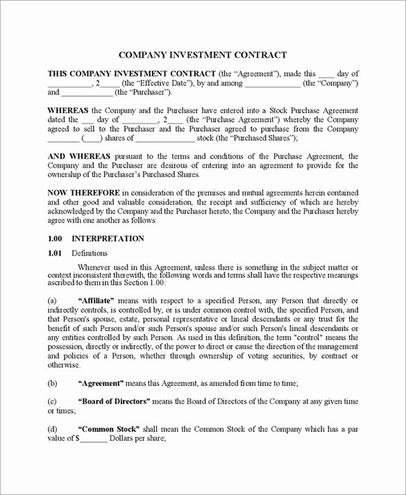 Equity Share Agreement Template Lovely 10 Business Investment Agreement Examples Pdf