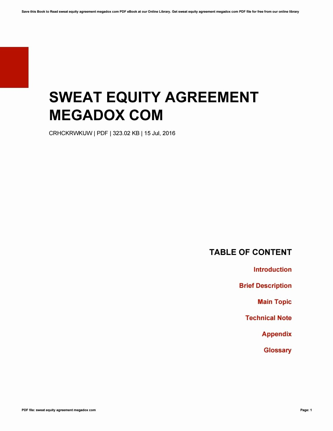 Equity Share Agreement Template Luxury Sweat Equity Agreement Megadox by theresaholford4092