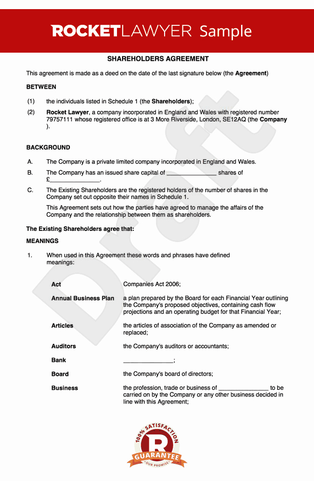 Equity Share Agreement Template Unique Free Holders Agreement Template Uk