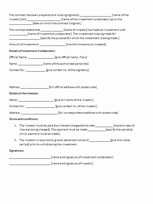 Equity Share Agreement Template Unique Profit Sharing Agreement form Equity Investment Template