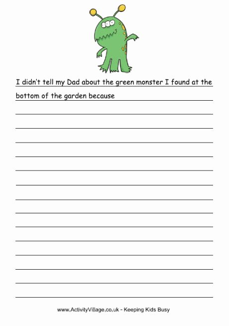 Esl Writing Prompts with Pictures Beautiful Green Monster Story Starter