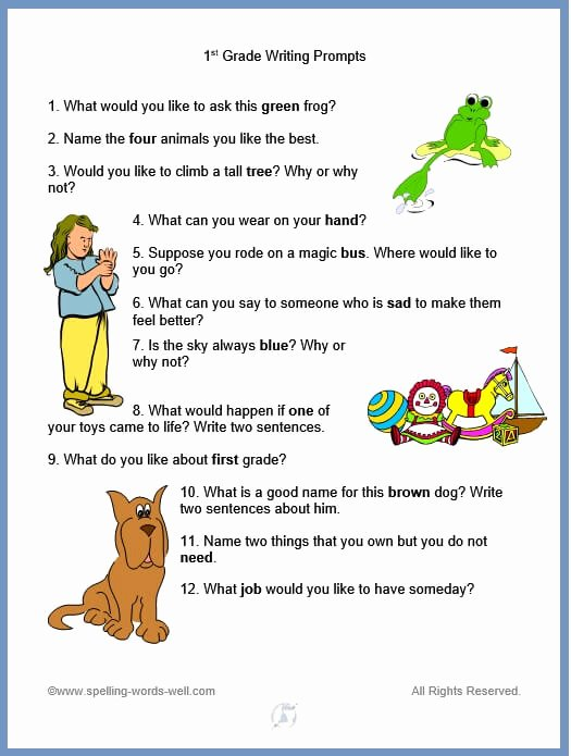 Esl Writing Prompts with Pictures Lovely 1st Grade Spelling Words Worksheets and Activities