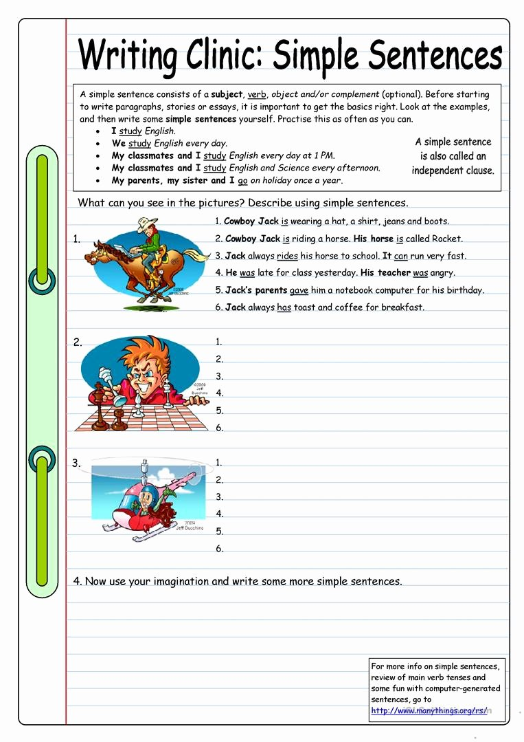 Esl Writing Prompts with Pictures Unique Writing Clinic Simple Sentences Worksheet Free Esl