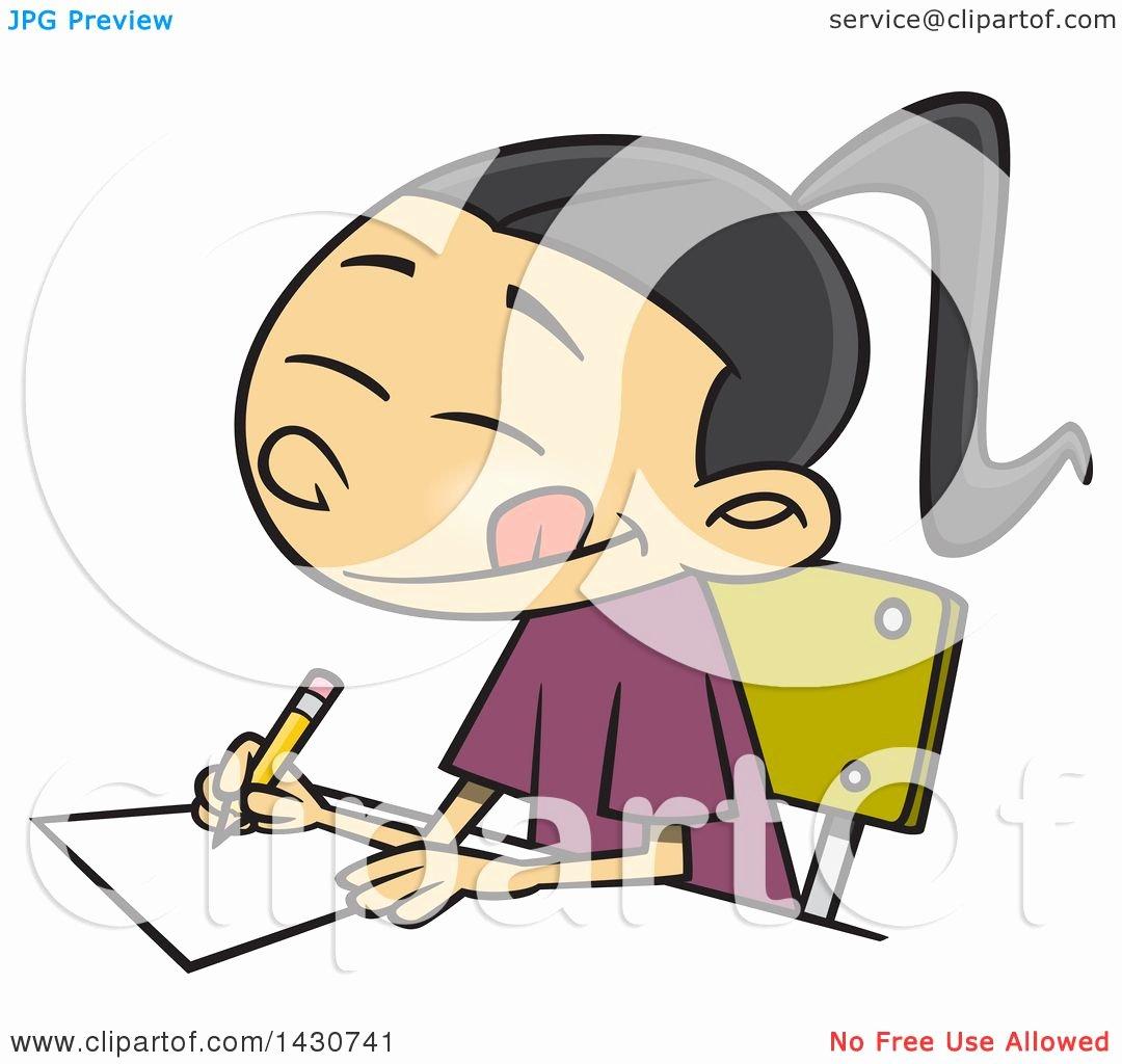 Essay Writing Clip Art Fresh Clipart Of A Cartoon asian School Girl Writing An Essay
