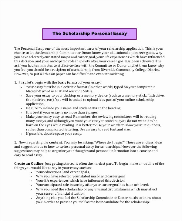 Essays for Scholarship Applications Examples Awesome Sample Scholarship Application Essay 6 Examples In Word