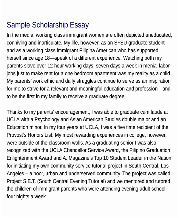 Essays for Scholarship Applications Examples Beautiful 10 Scholarship Essay Examples & Samples Pdf