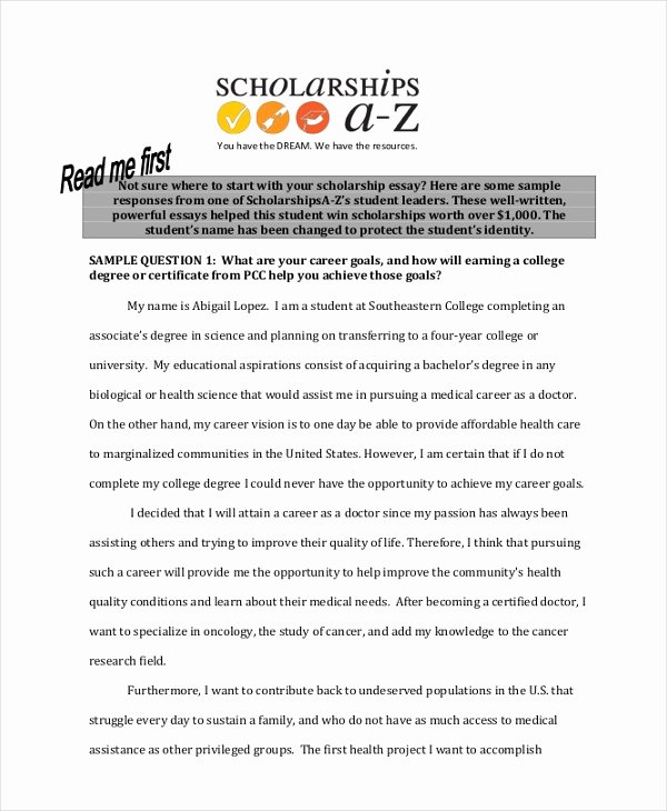 Essays for Scholarship Applications Examples Elegant 9 Scholarship Essay Examples