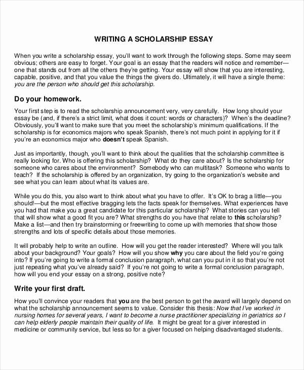 Essays for Scholarship Applications Examples Fresh 10 Scholarship Essay Examples & Samples Pdf