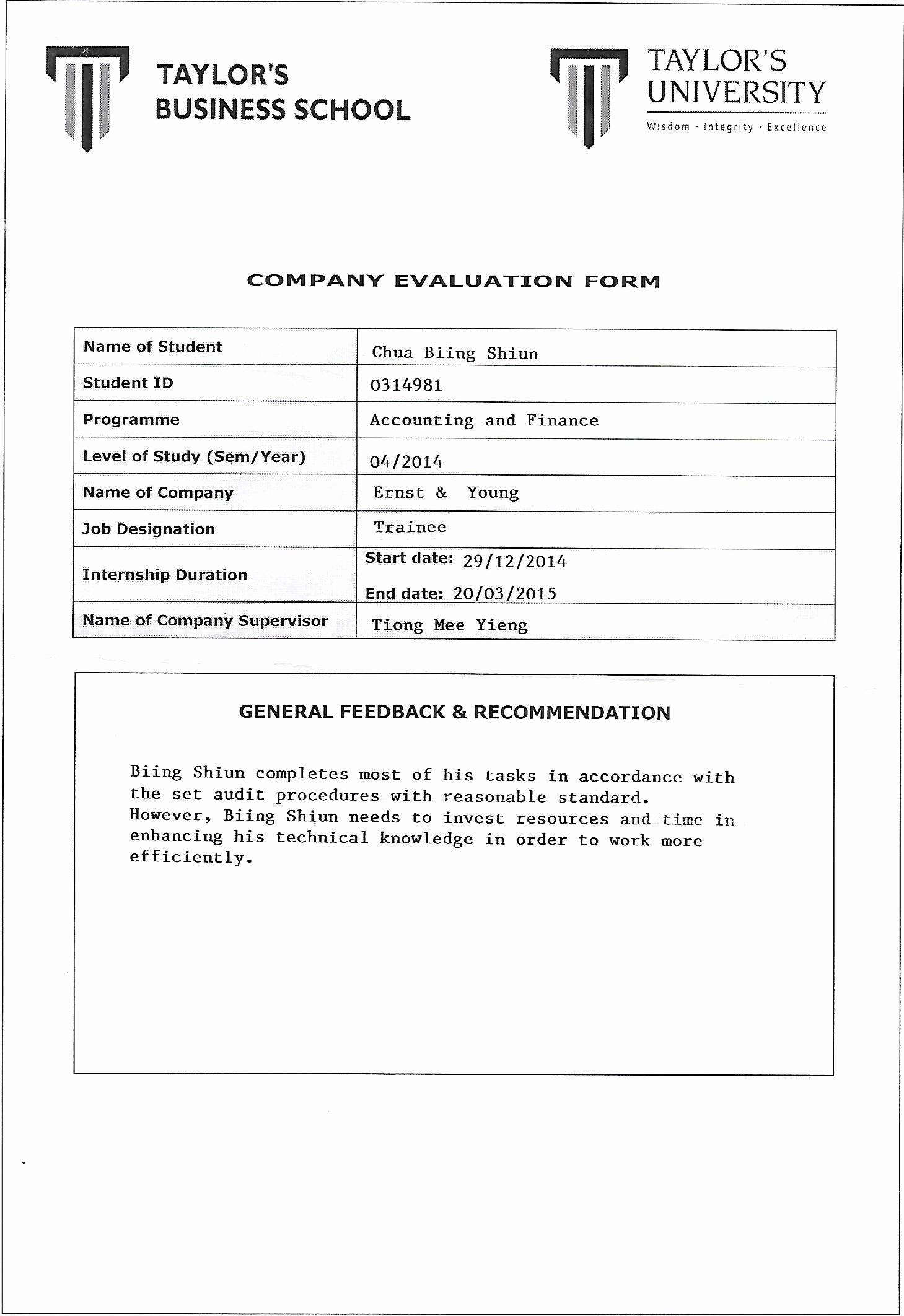 Evaluation Letter Sample for Student Elegant Pany Evaluation form Internship Eportfolio
